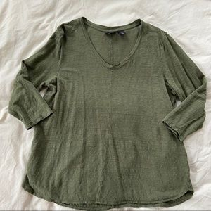 Tahari 100% Linen Green Long Sleeve T-shirt